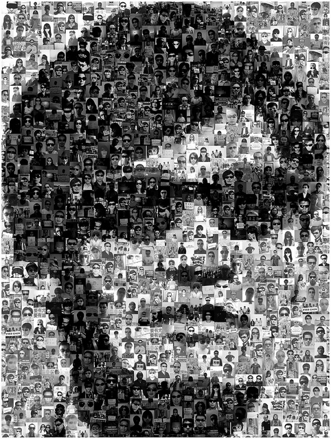 Caption: A mosaic of Chen Guangcheng supporters. The Dark Glasses Portrait project won a Distinction at prix ars electronica 2012. Image reprinted with a Creative Commons License via Flickr.